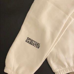 Spiritual Gangster Varsity Sweatpants in White